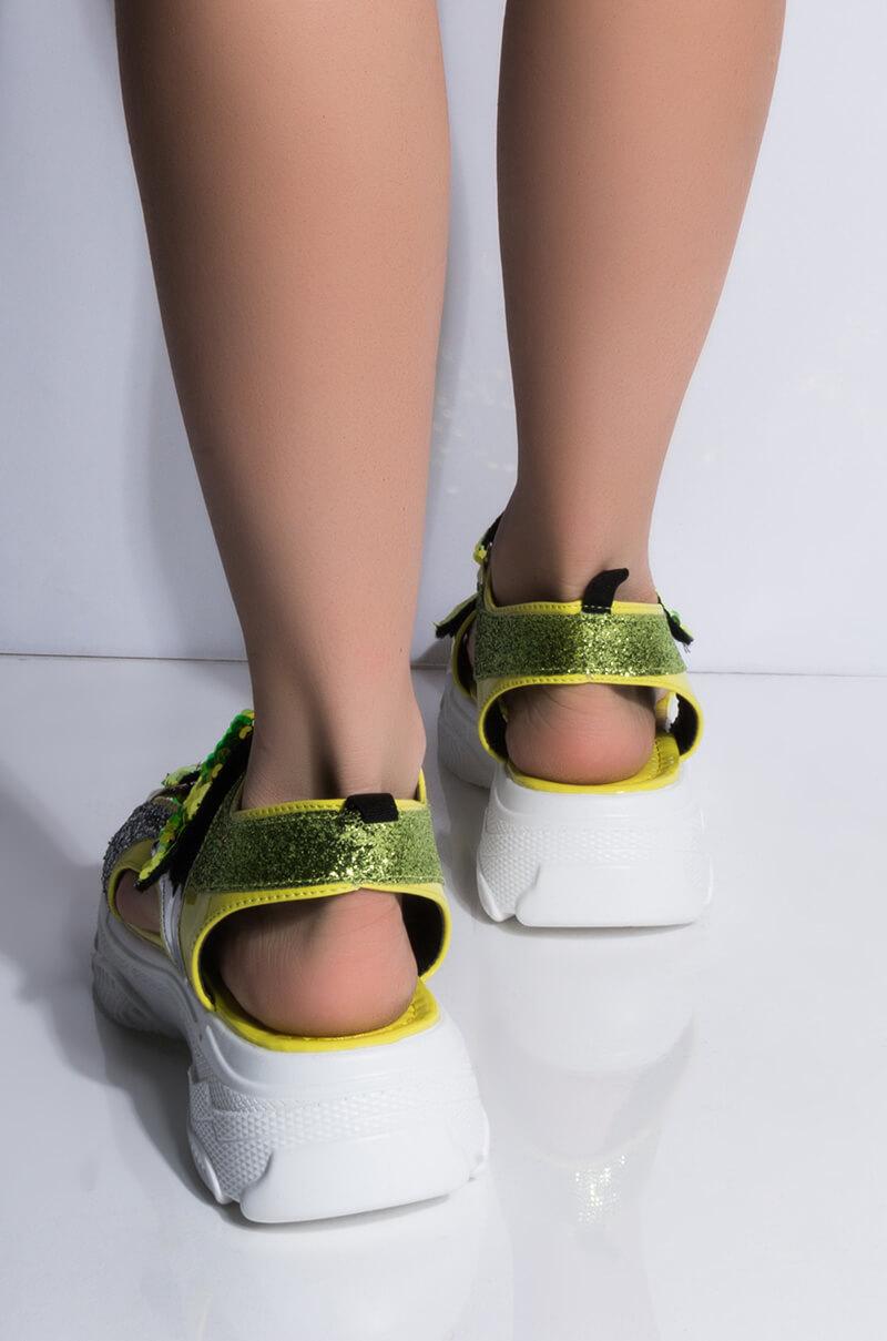 44f04415e AKIRA Label Double Band Rhinestone Coated Wedge Heeled Sandal