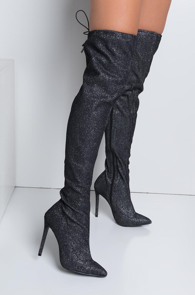 Akira Over The Knee Glitter Sparkling Stiletto Heel