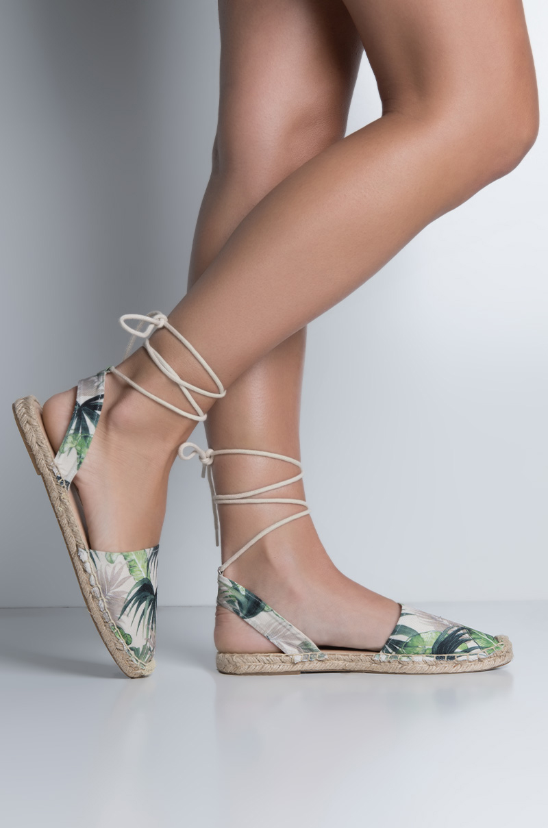 a68fa7c916c1 Fabric Low Espadrille Sole Super Tiny Heel Adjustable Ankle Tie Closed Toe  Flat Sandals in Green