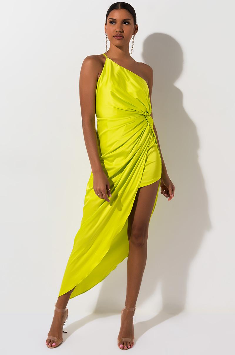 AKIRA Label Satin Draped High Low Hem One Shoulder Mini Dress in Neon Yellow