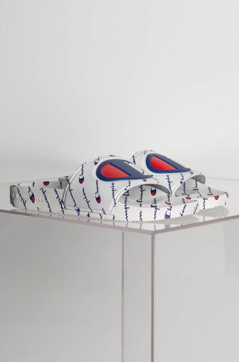 Champion Ipo Repeat Slide Sandals In White White Red Red