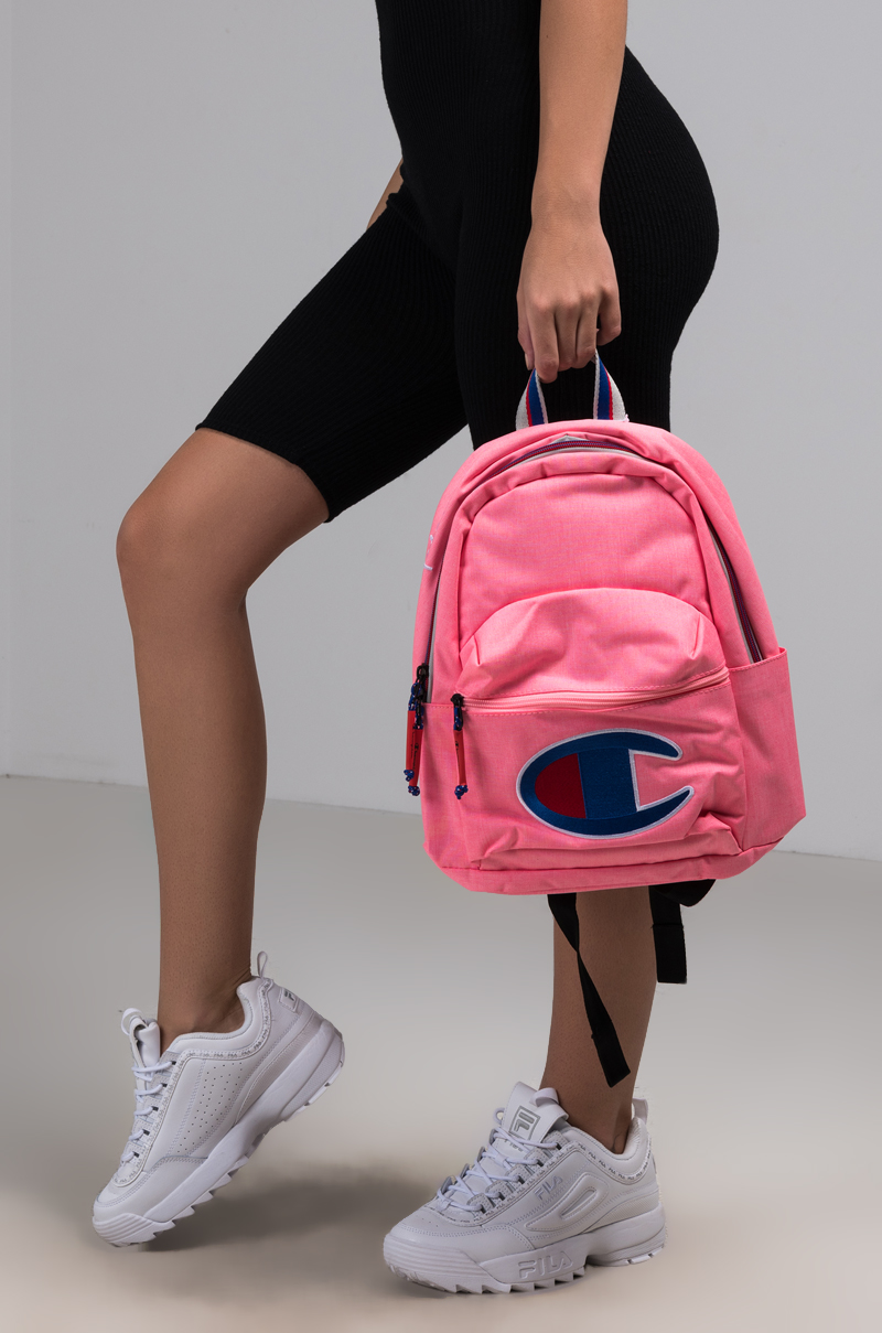 Champion Canvas Backpack with Large Front Pocket and Embroidered C Logo in  Black 4fb3ee98d5196
