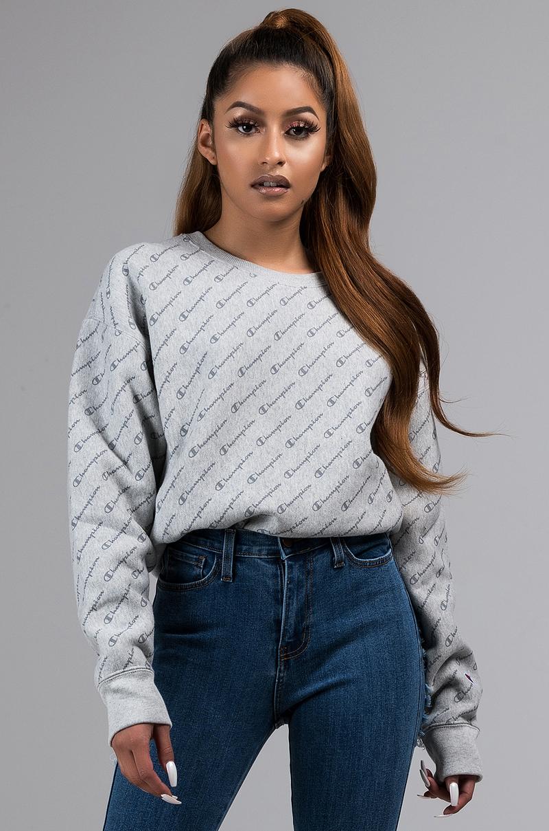 f79cea9b Champion Reverse Weave All Over Diagonal Tonal Script Print Crew Neck  Sweatshirt in Heather Grey