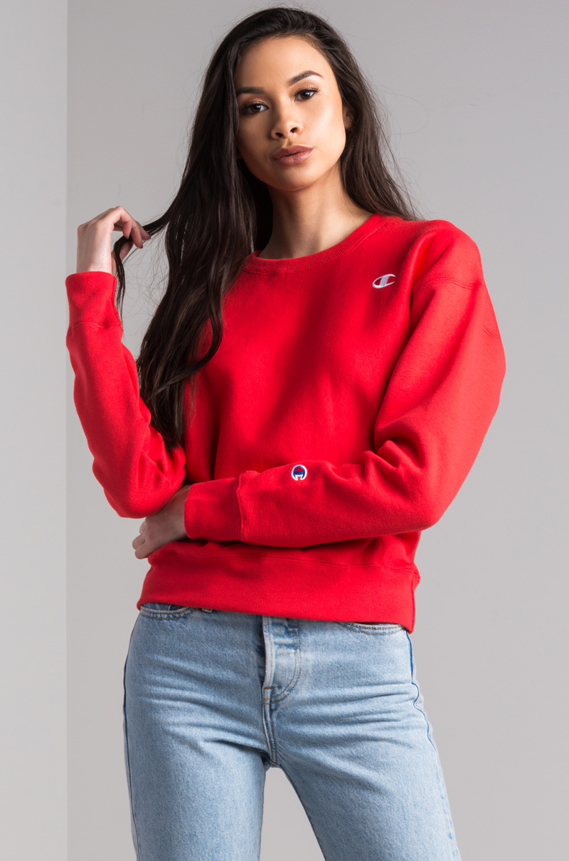 1a2f480d31a4 Champion Reverse Weave Crew Neck Small C Women s Sweatshirt in Red Sparks