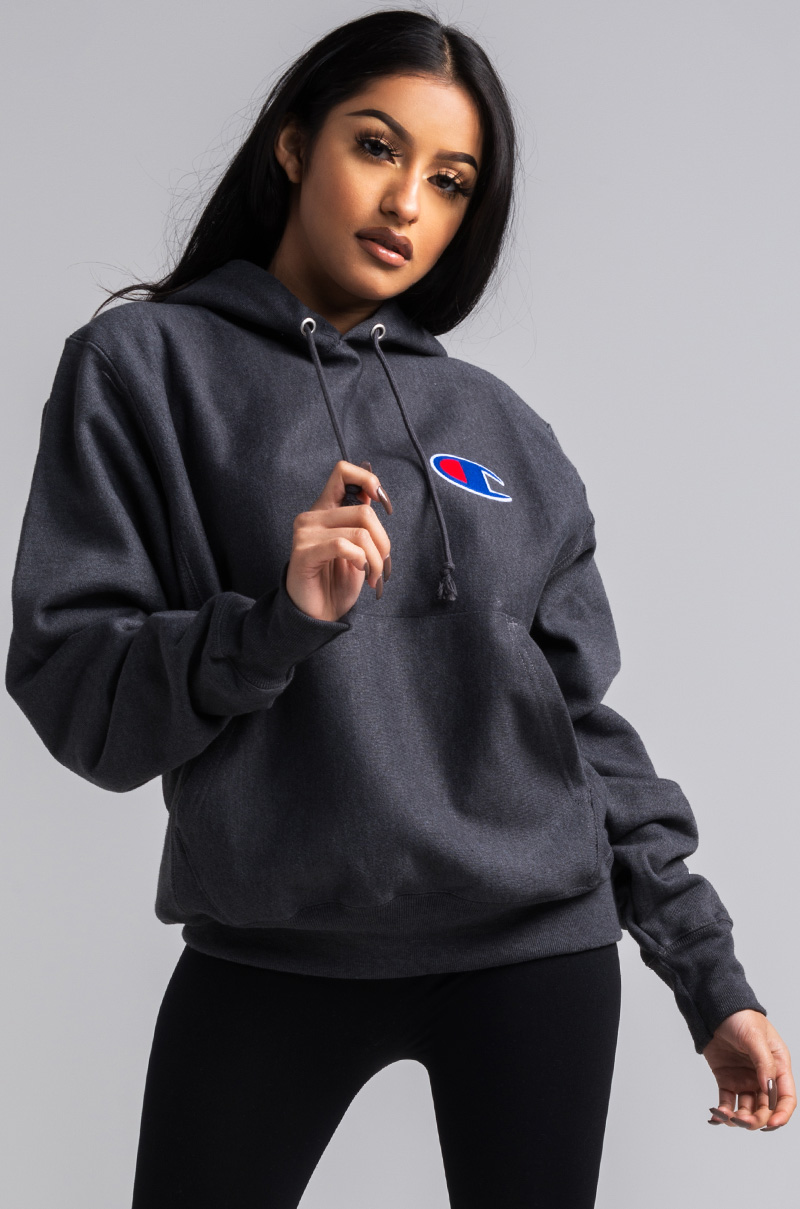 Champion Women S Pullover Hoodie In White Oxford Grey