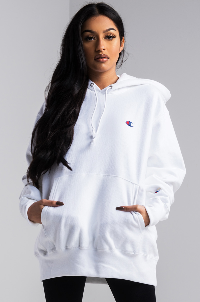 306879a1 Champion Women's Pullover Hoodie in Beige, Teal, Purple, Yellow, Team Gold,  White, Black, Blush