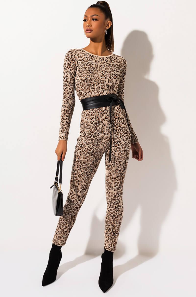 AKIRA Label Long Sleeve Leopard Print Bodycon Jumpsuit in Light Brown
