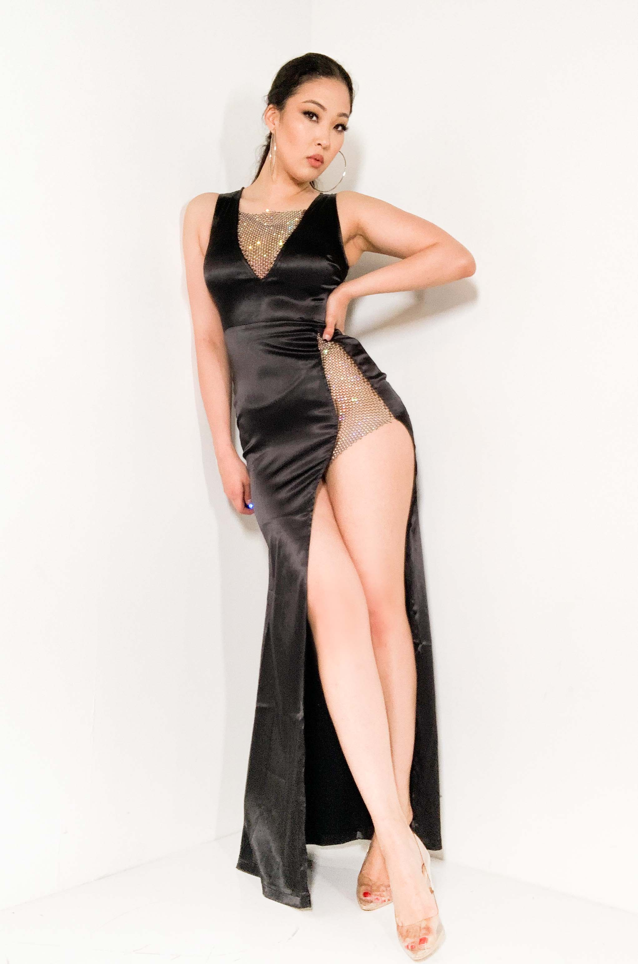 CHECK ME OUT RHINESTONE MESH AND SATIN MAXI DRESS