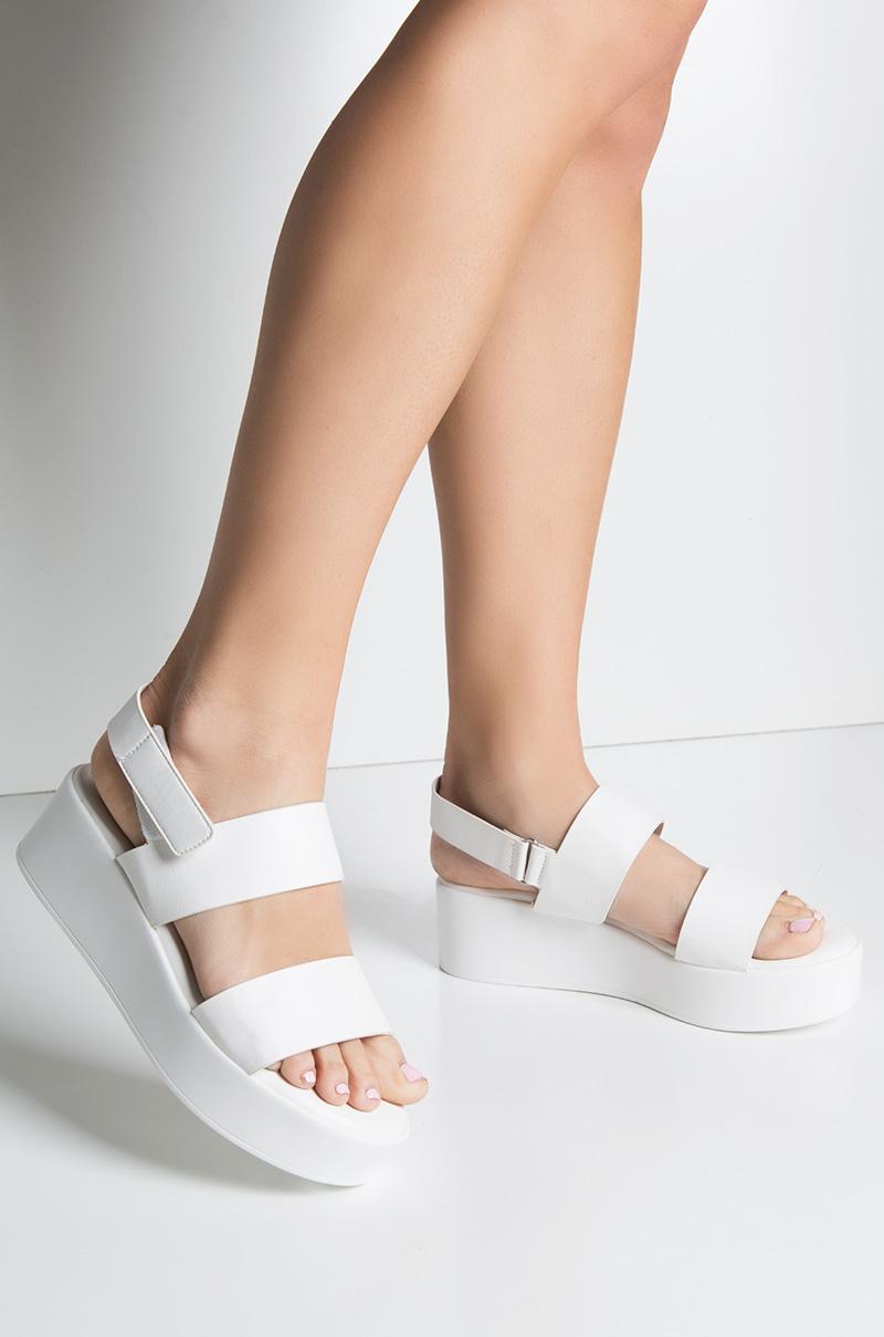c58bc86534cd Heel Strap Open Toe Platform Sole Flat Sandal In White Black Rose ...