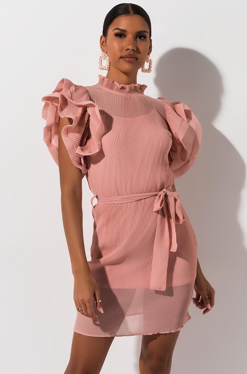 AKIRA Label Ruffle Sleeve Pleated Mini Dress in Nude