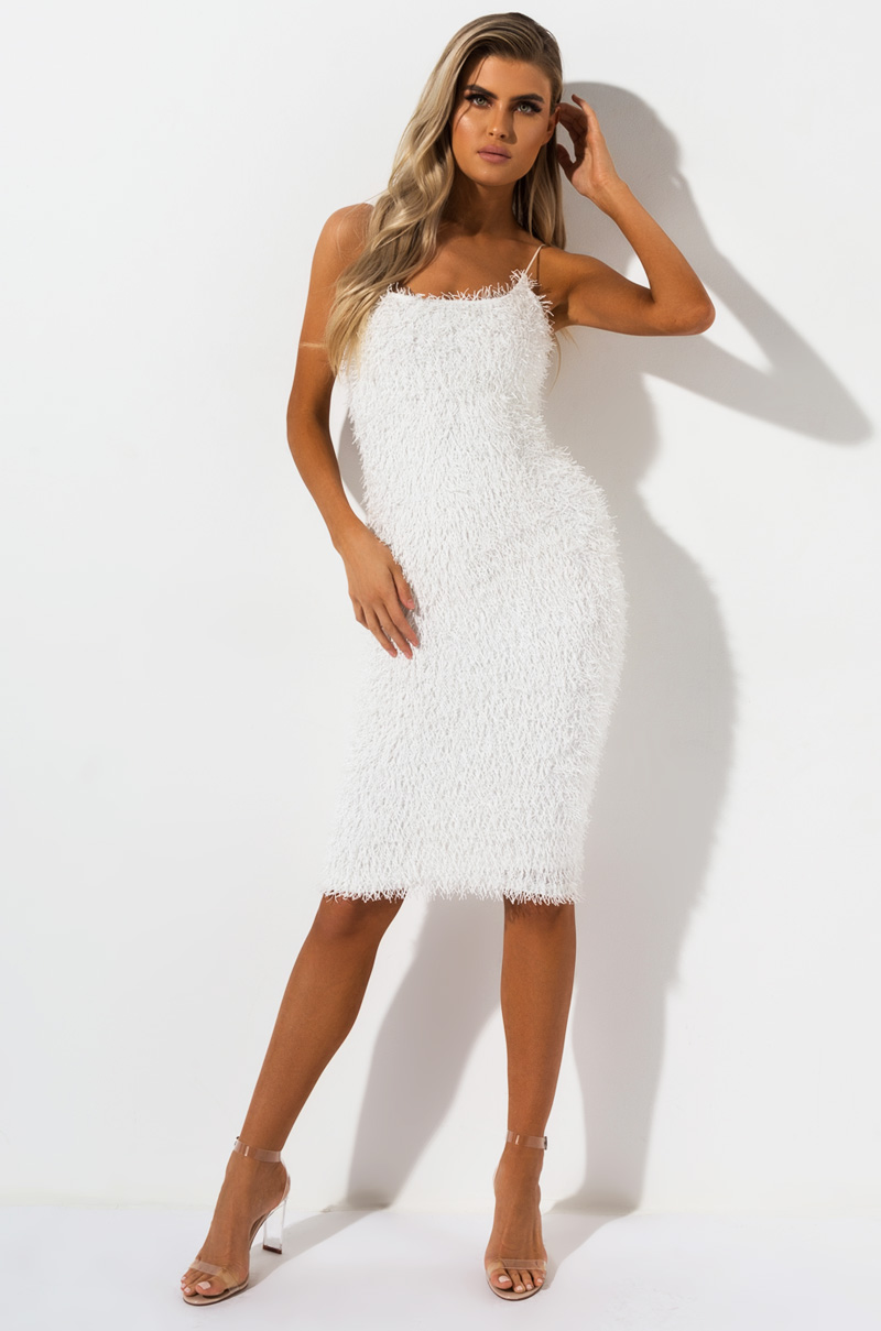 AKIRA Label Allover Textured Fringe Bodycon Midi Dress in White