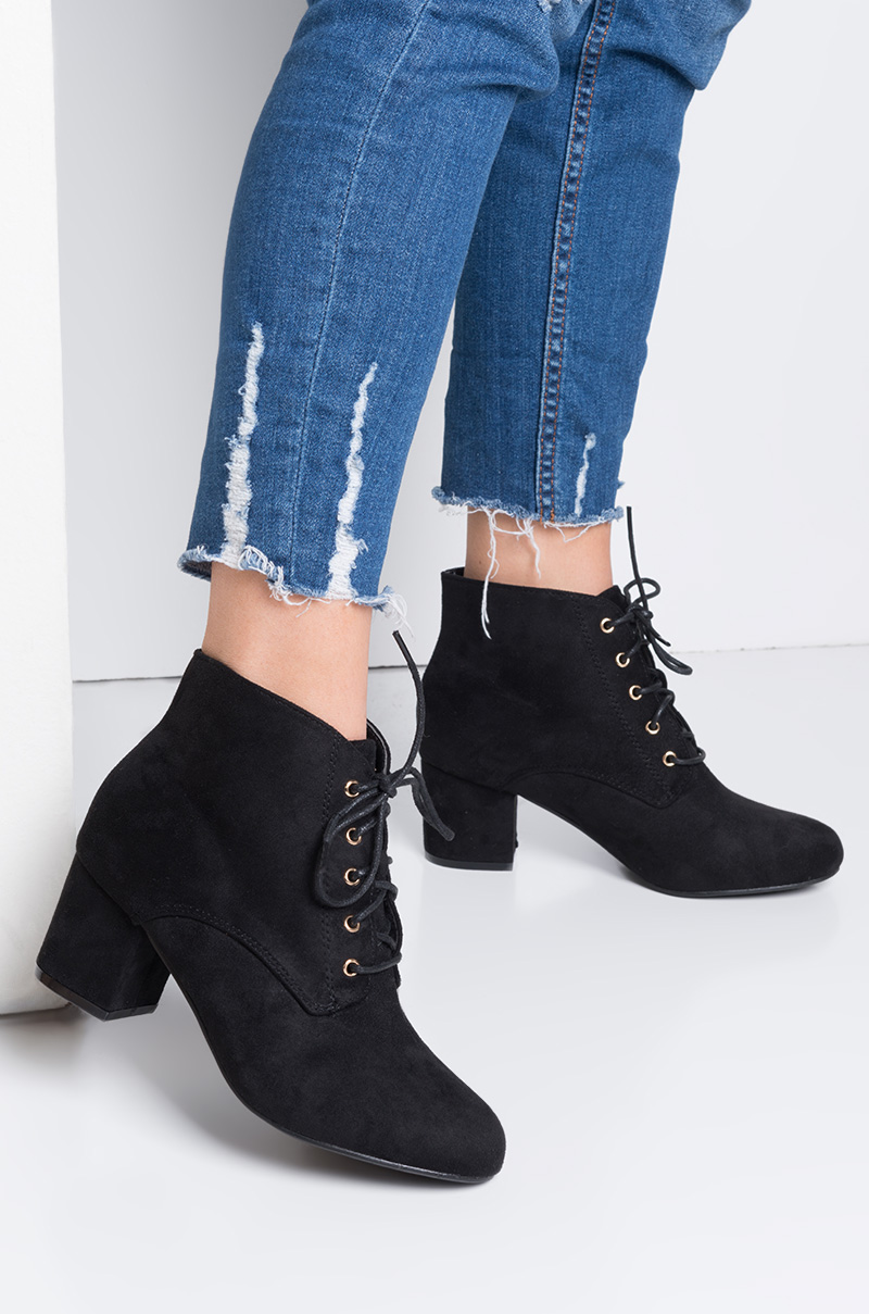 Rounded Toe Lace Up Faux Suede Low Block Heel Ankle