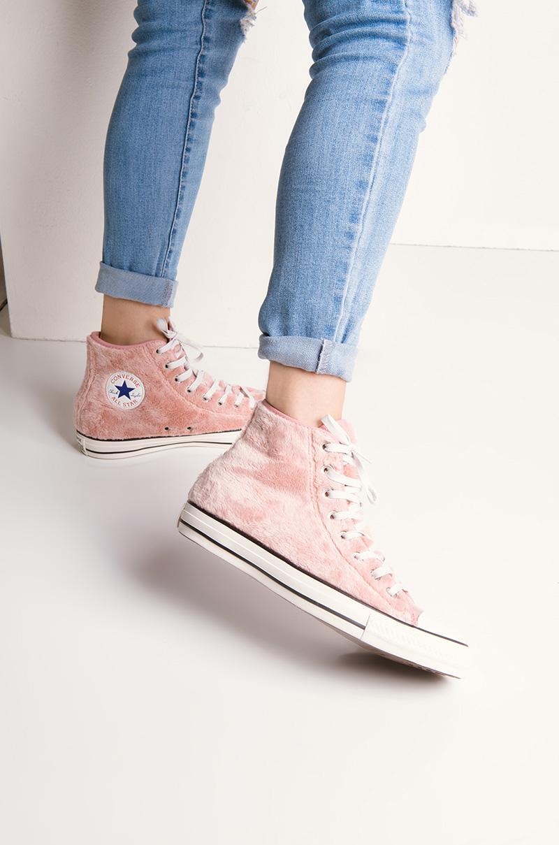 409c2a6a7ea7 Converse Chuck Taylor Women s Fuzzy Hi Top Sneakers in Rose Tan Black White