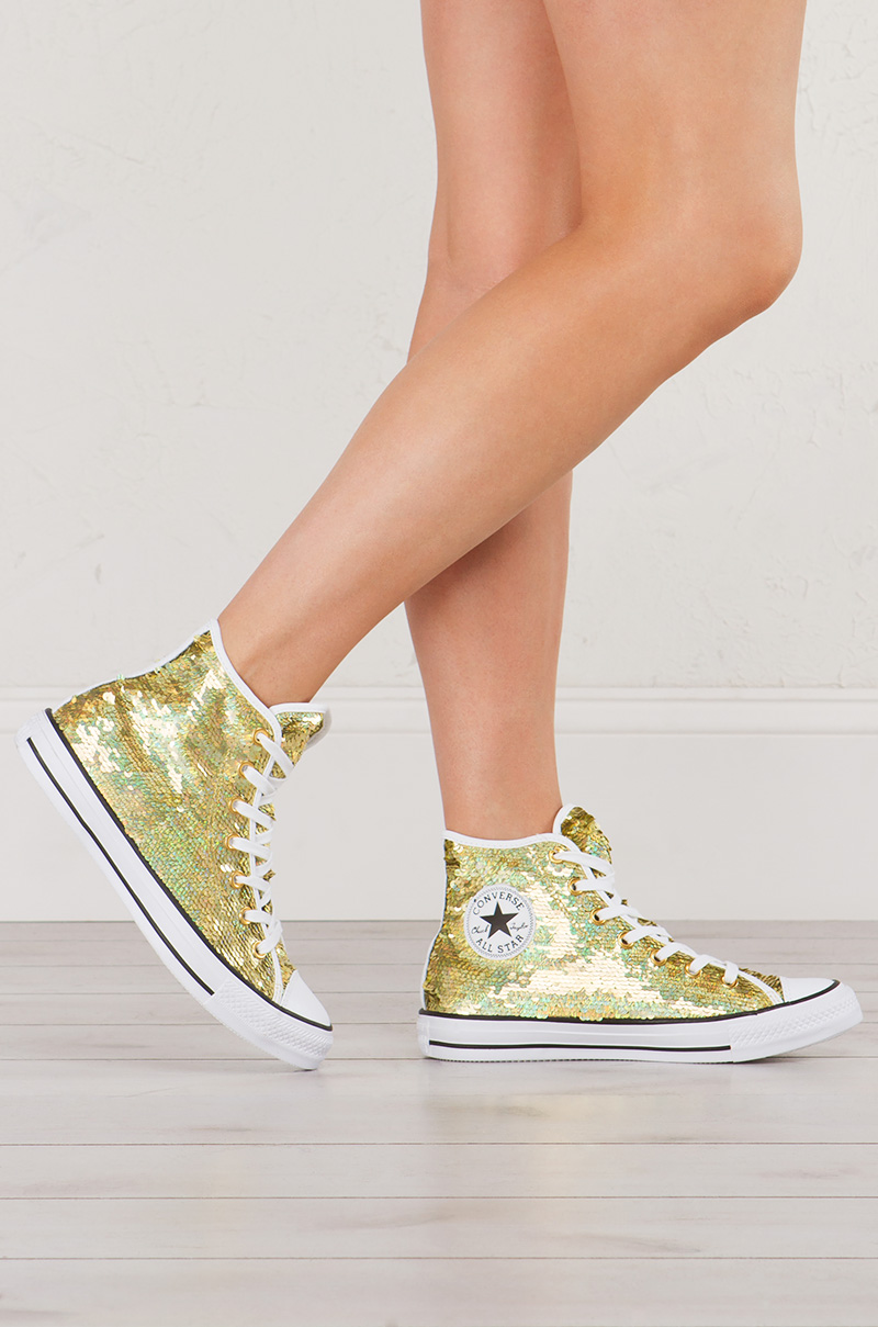 c5db228e068c Converse Chuck Taylor Shiny Metallic High Top Sneaker in Gold Sequin with  White Contrast