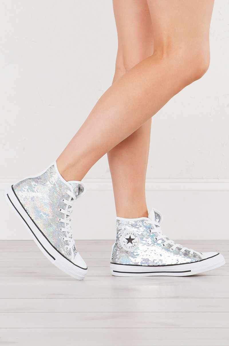 7e76390c8d62 Converse Chuck Taylor Shiny Metallic High Top Sneaker in Silver Sequin with  White Contrast
