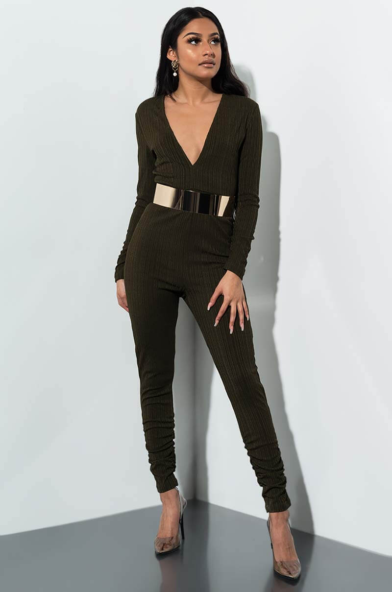 c5c121bb8f08 AKIRA Unbothered Plunging Long Sleeve Belted Jumpsuit.  25. AKIRA Curious  About Ya Ruched Jumpsuit