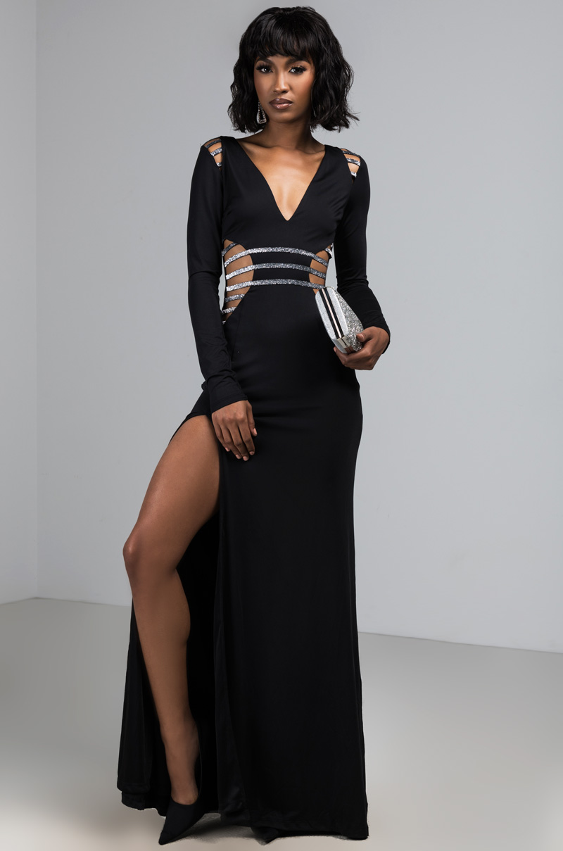 Akira Label Sexy Maxi Dress With Long Sleeves And A High