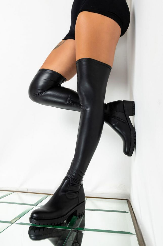 Front View **slim Fit** Azalea Wang Attention On Me Fitted Over The Knee Flat Boot in Black Pu