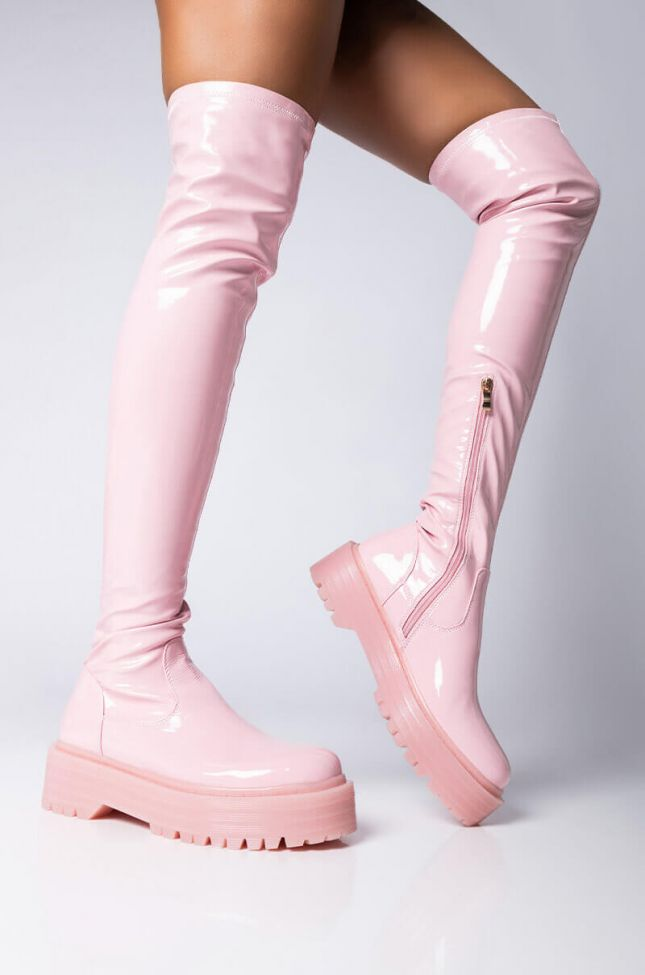 Front View **slim Fit** Azalea Wang Cross My Heart Flatform Boot In Pink Patent in Pink Patent