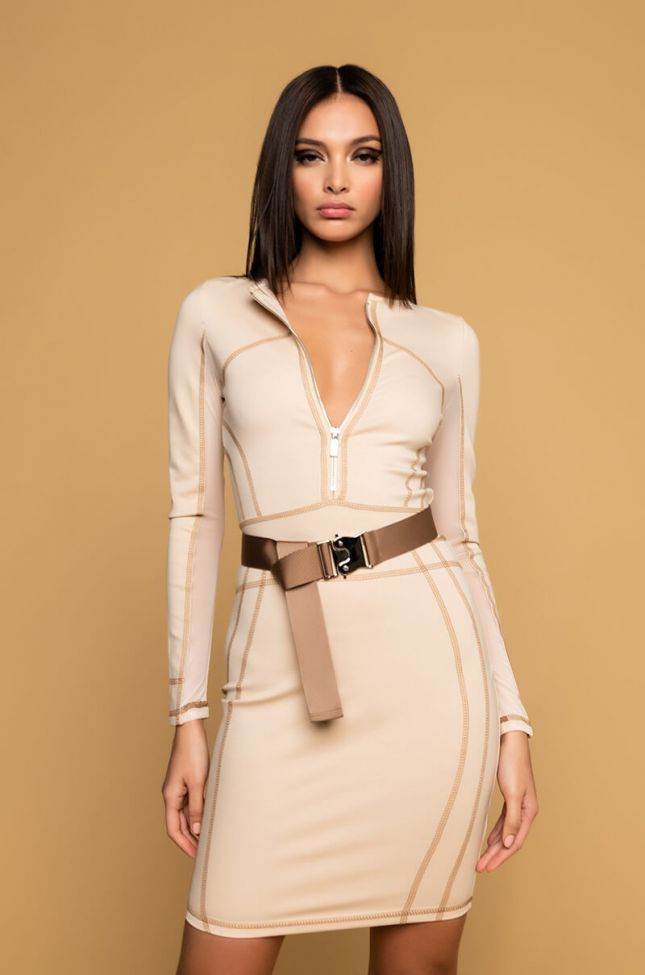 Front View  I Wont Forget Long Sleeve Front Zip Bodycon Mini Dress in Light Brown