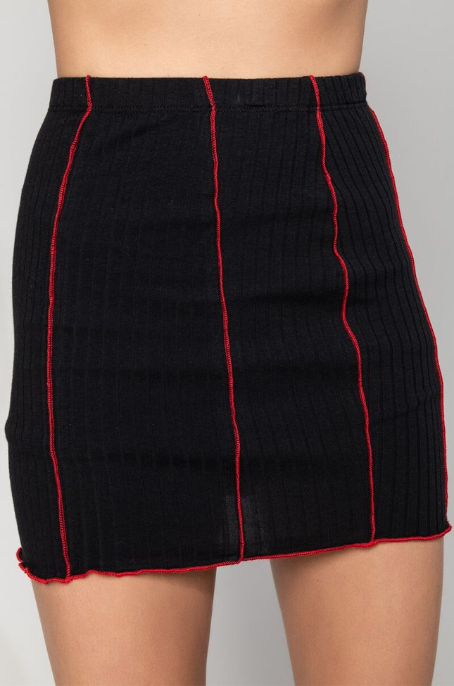 Detail View  Lets Make It Official Contrast Trim Mini Skirt  in Black