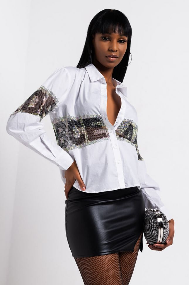 Front View 1-9 Real Quick Rhinestone Mesh Detail Shirt in White