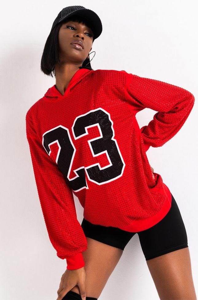 Front View 23 Rhinestone Sweatshirt in Red