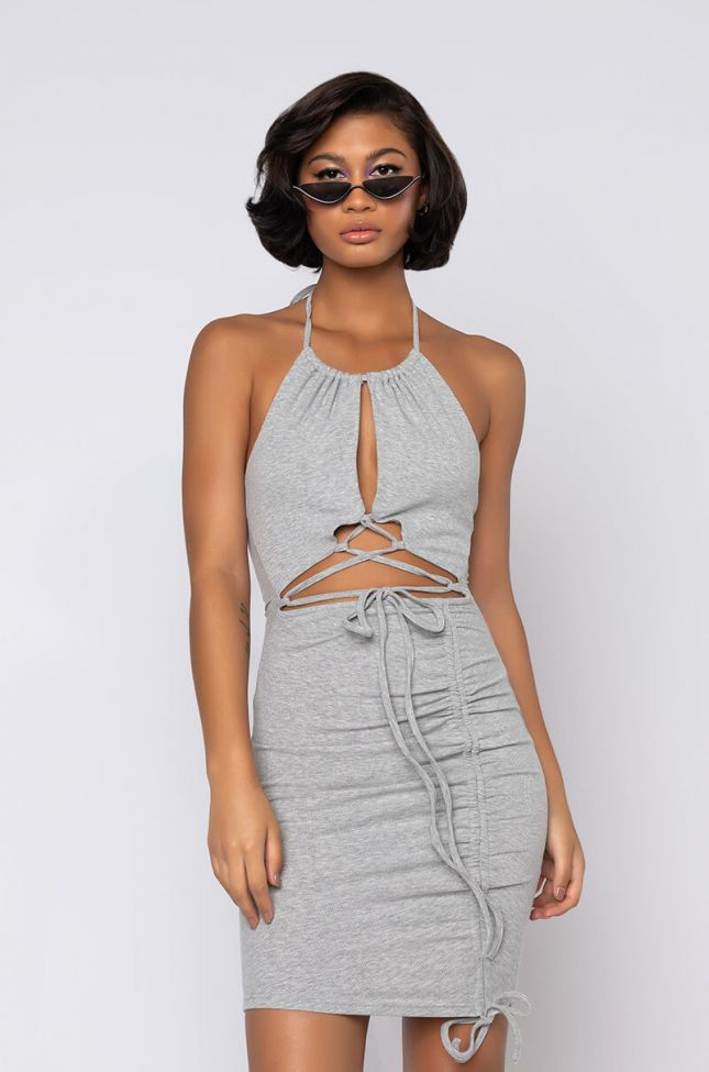 Front View 50 Shades Of Slay Lace Up Ruched Mini Dress in Heather Grey