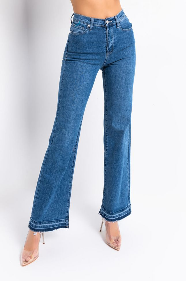 Front View 90s High Waisted Straight Leg Jeans in Medium Blue Denim