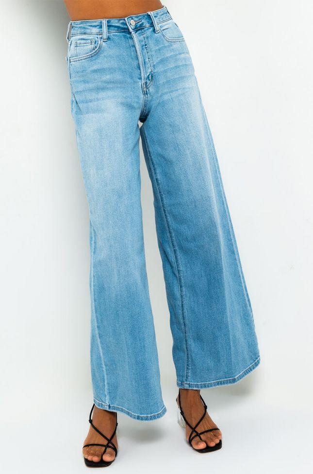 Front View 90s Straight Leg Jeans in Light Blue Denim