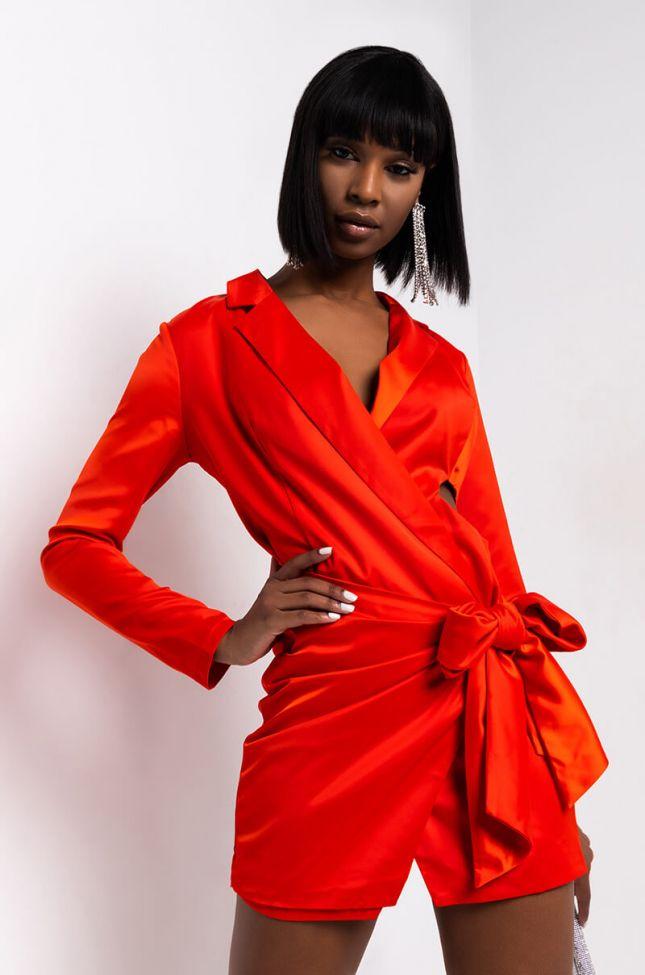 Front View A Cut Above Satin Blazer Dress in Orange Red