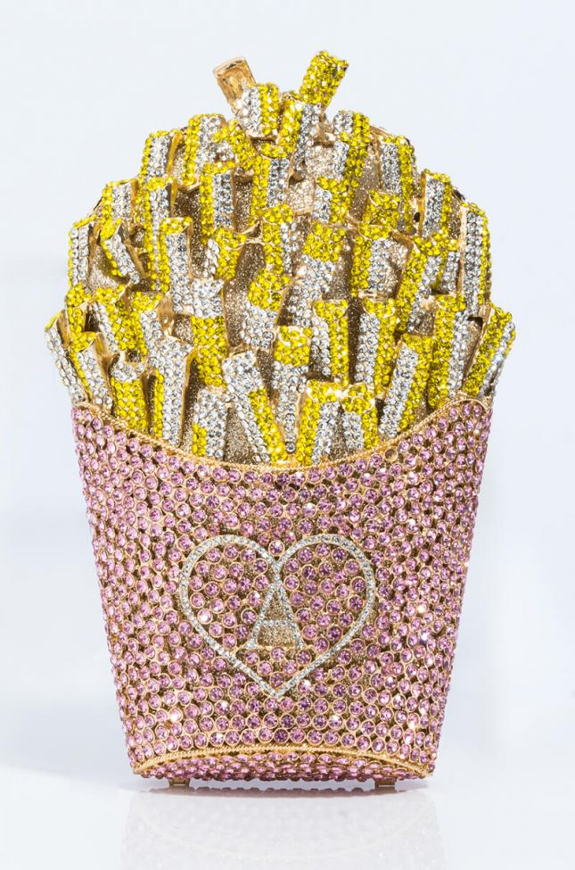 Back View A-mazing French Fry Bling Purse in Pink