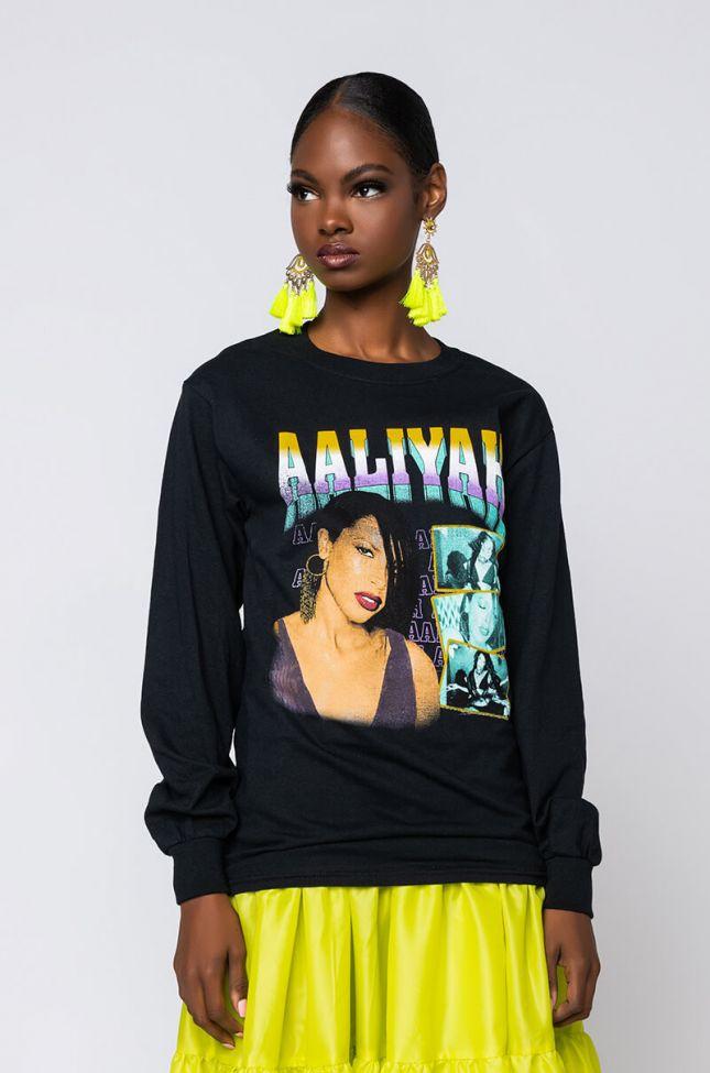 Side View Aaliyah Long Sleeve T-shirt in Black