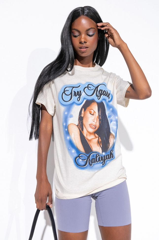 Front View Aaliyah Try Again T-shirt in Beige