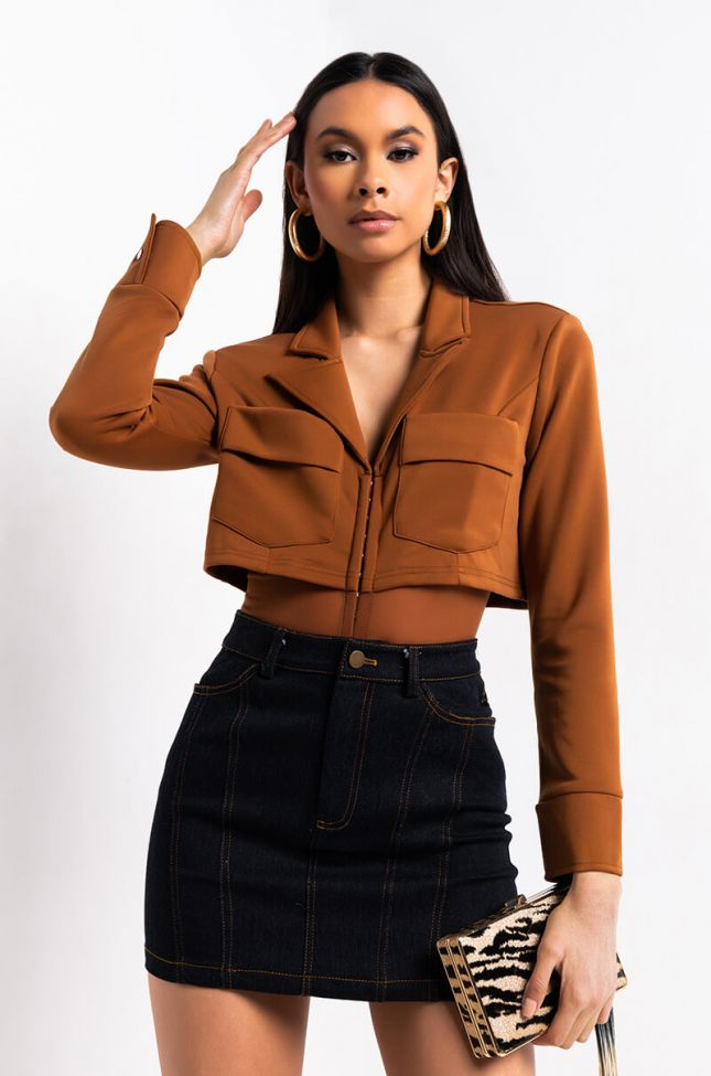 Front View Above The Game Blazer Bodysuit in Camel