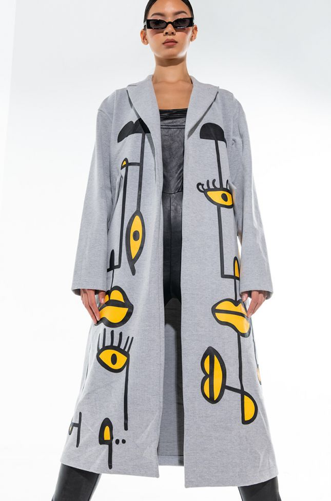 Front View Abstract Stretch Carli Trench
