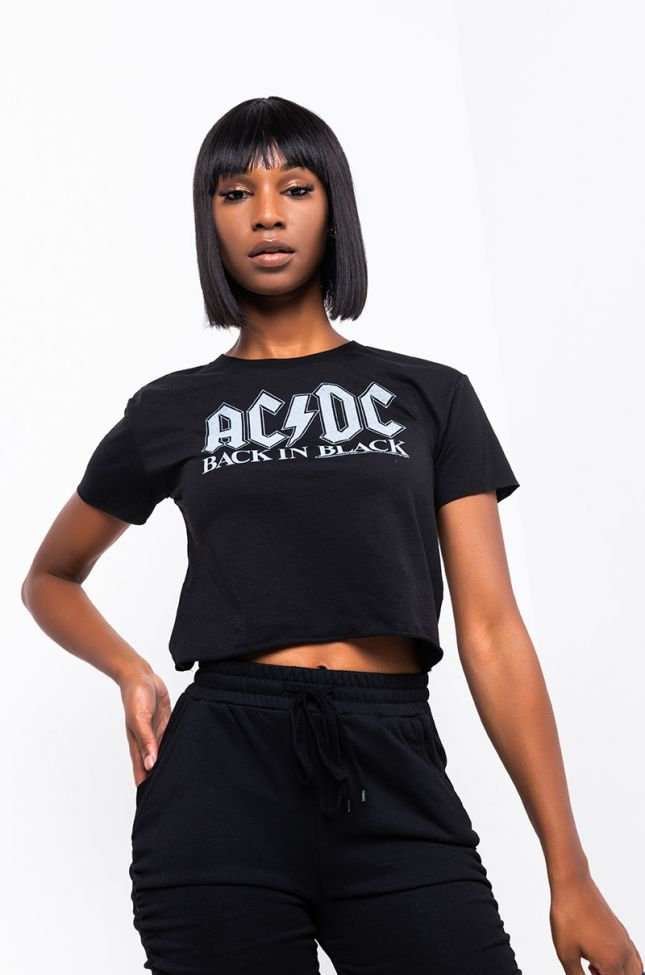 Front View Ac Dc Back In Black Cropped T Shirt in Black