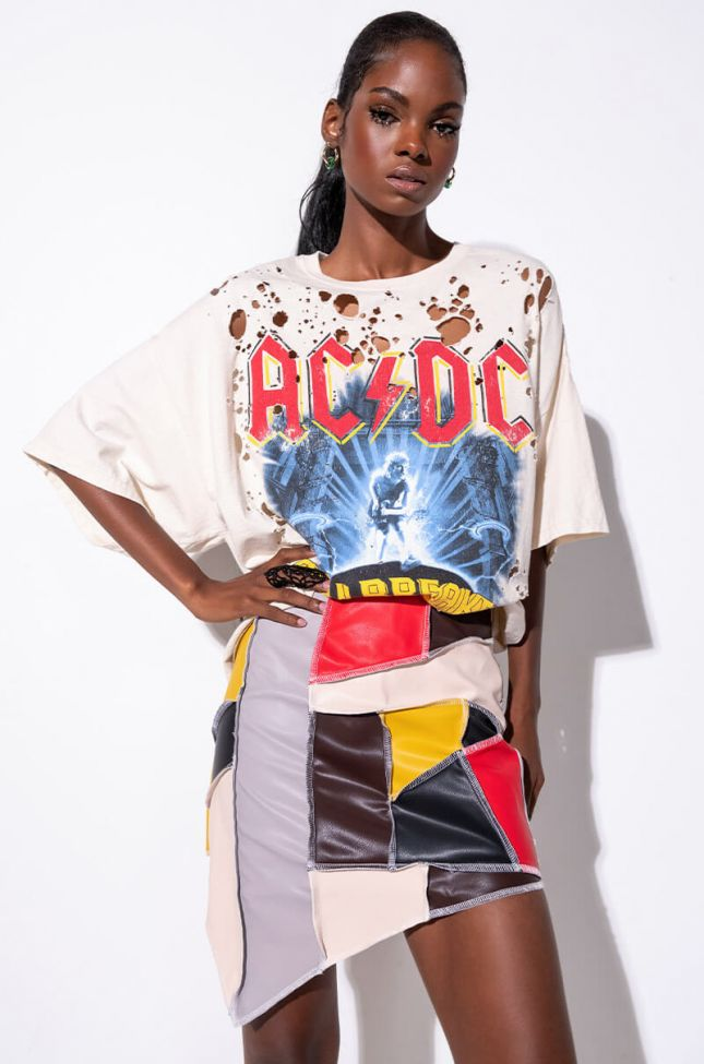 Front View Acdc Distressed Graphic T Shirt Dress