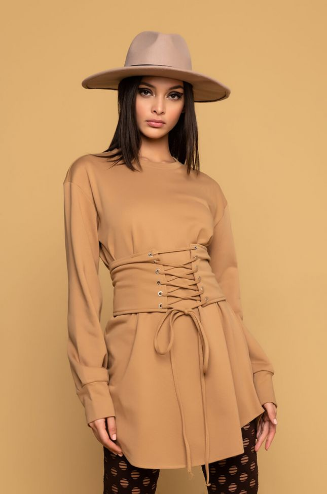 Front View Adam And Eve Long Sleeve Belted Mini Dress in Camel