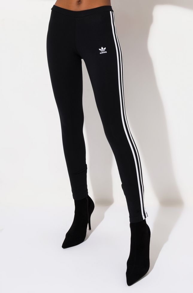 Front View Adidas 3 Stripes Tights in Black