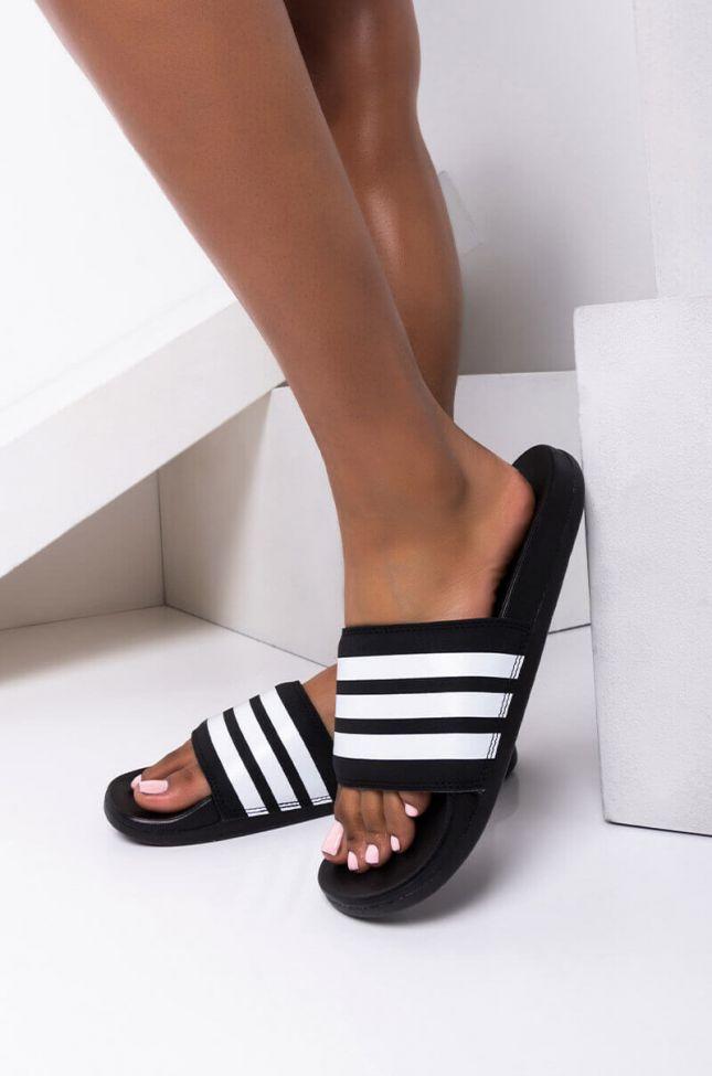 Front View Adidas Adilette Comfort Stripes Slide Sandal in Black