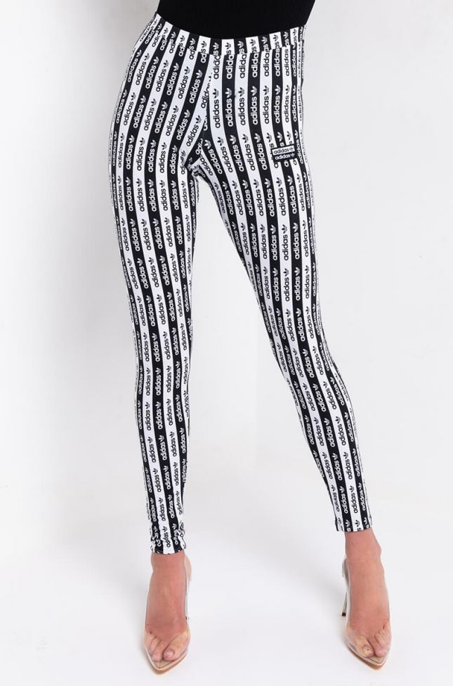 Front View Adidas Womens All Over Logo Print Tights in Black White