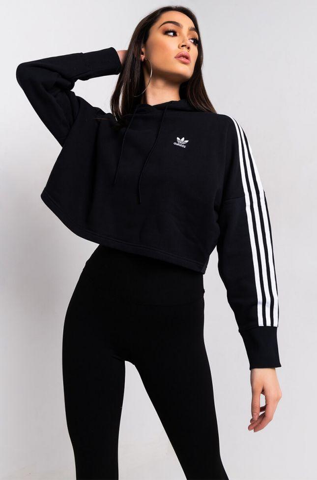 Side View Adidas Womens Cropped Long Sleeve Hoodie in Black