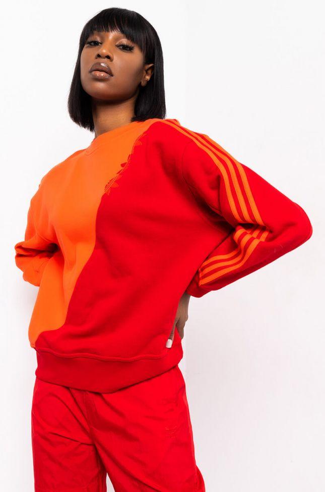 Front View Adidas Womens Diagonal Stripe Sweatshirt in Scarlet