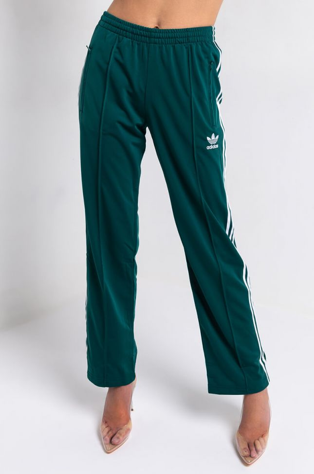 Front View Adidas Womens Firebird Three Stripe Track Pant in Noble Green
