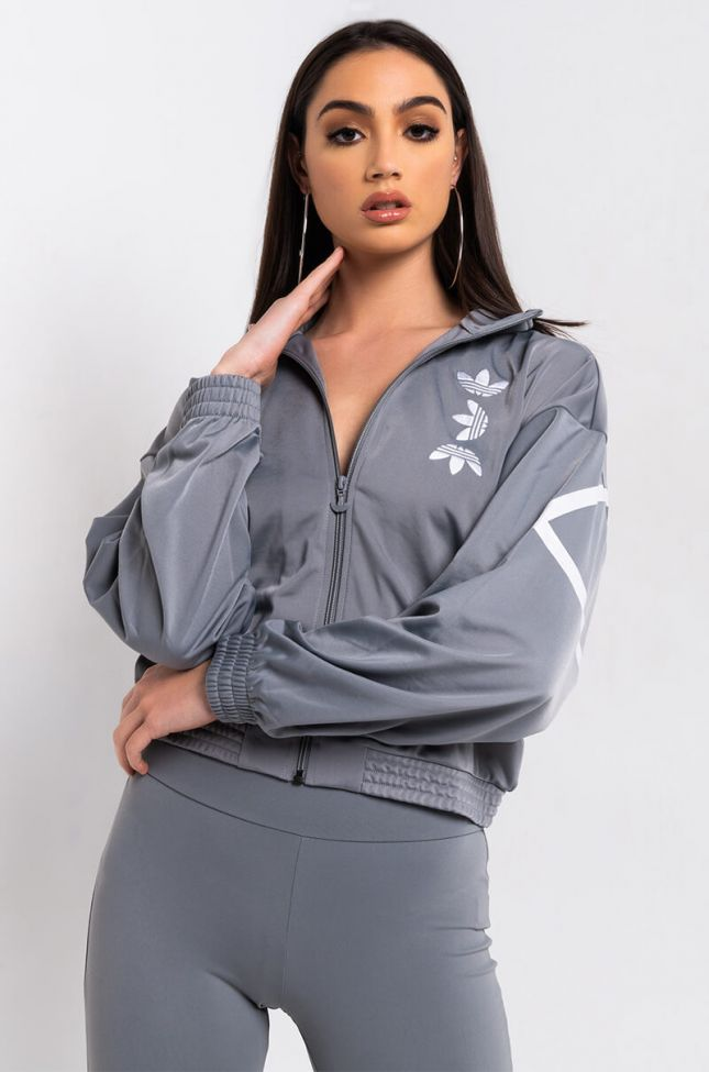 Front View Adidas Womens Large Logo Track Top in Ch Solid Grey White