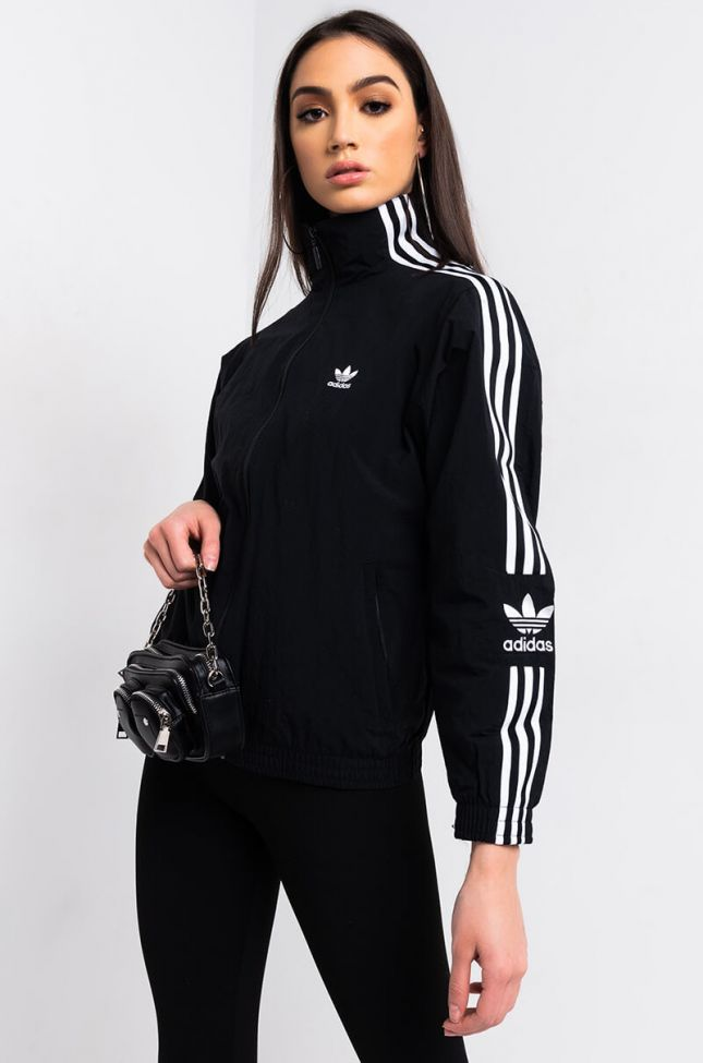 Side View Adidas Womens Lock Up Track Jacket in Black White