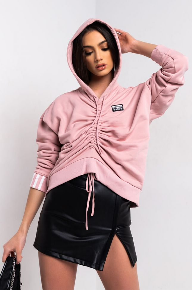 Side View Adidas Womens Ruched Hoodie in Pink Spirit