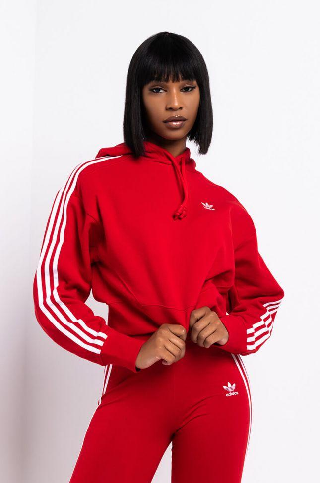 Side View Adidas Womens Short Crop Hoodie in Scarlet