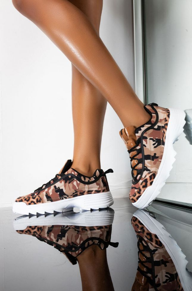 Front View After Party Leopard Camo Sneaker in Camel